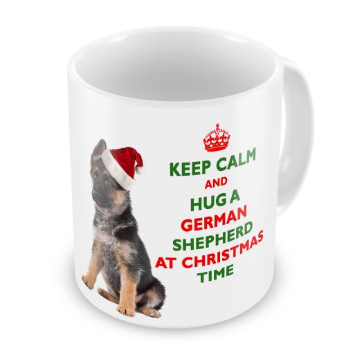 Christmas Keep Calm And Hug A German Shepherd Novelty Gift Mug